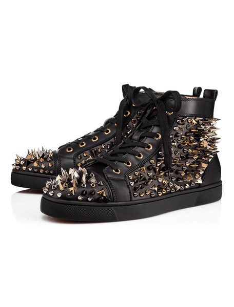Milanoo Zapatos negros de skate Hombres remaches de punta redonda Lace Up High Top Sneakers Spike Shoes