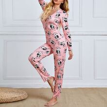 Plunging Neck Panda & Letter Graphic Night Jumpsuit