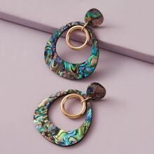 Creolen mit Ring Anhaenger und Abalone Muster 1 Paar