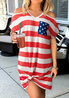 American Flag Star Cold Shoulder Mini Dress - Stripe