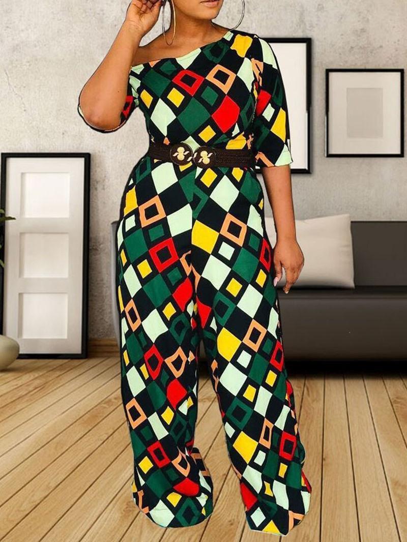 Ericdress Color Block African Style Geometric Slim Jumpsuit