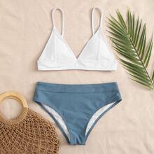 Two Tone Triangle Bikini Swimsuit