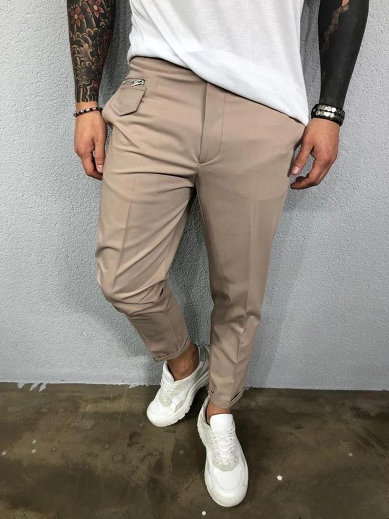 Ericdress Pocket Plain Mid Waist Men's Casual Pants