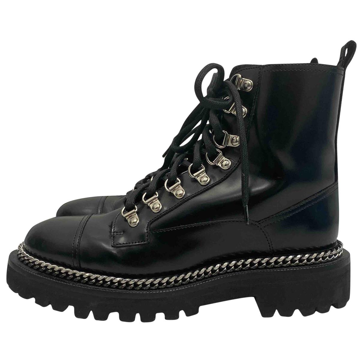 Balmain - Boots   pour femme en cuir - noir