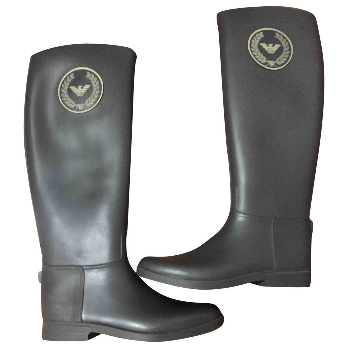 Emporio Armani N Grey Rubber Boots for Women 37 EU