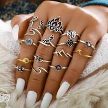 15 piezas anillo con diseño de hoja y flor