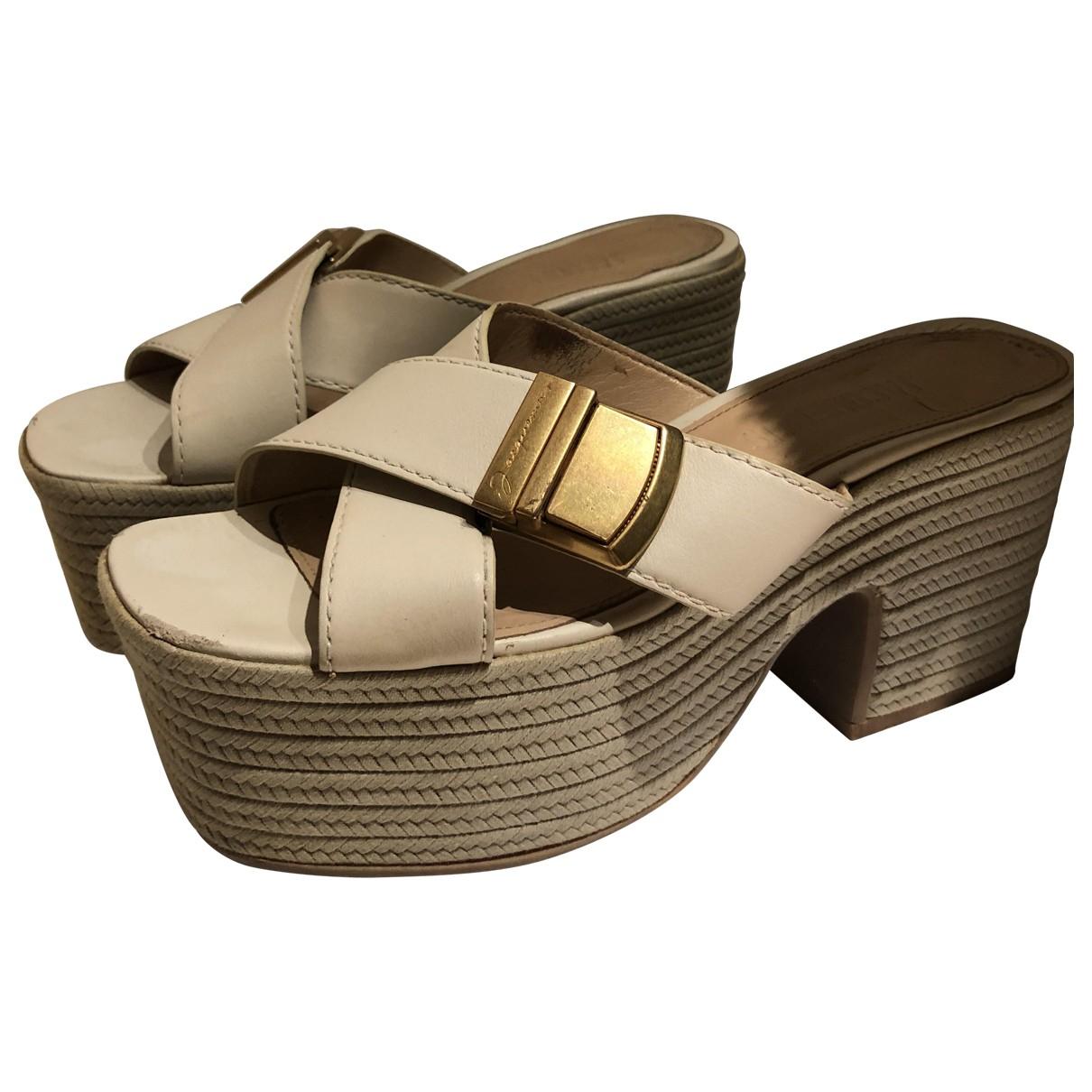 Jacquemus - Sandales   pour femme en cuir - ecru