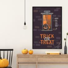 Wandmalerei mit Halloween Kuerbis Muster ohne Rahmen