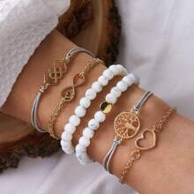 6pcs Infinity & Heart Decor Bracelet
