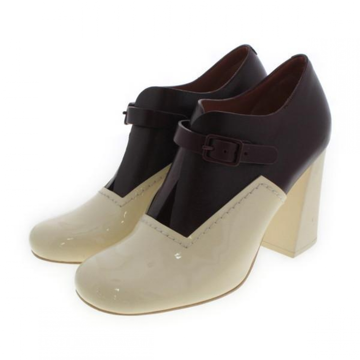 Celine - Boots   pour femme en cuir verni - ecru
