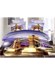London Tower Bridge Print 4-Piece Cotton Duvet Cover Sets