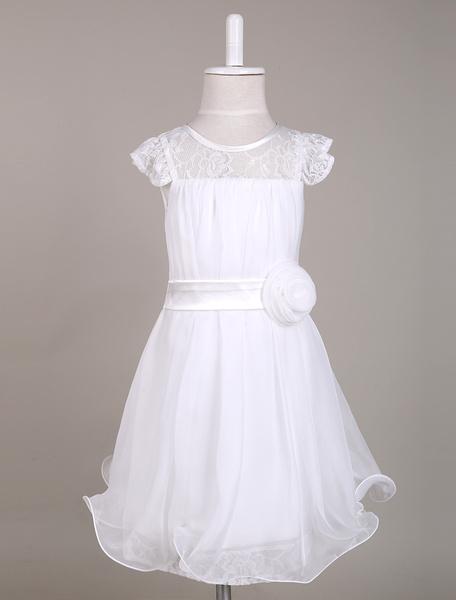 Milanoo Vestido estilo Bohemia para las damitas de tul con escote redondo y flor sin mangas