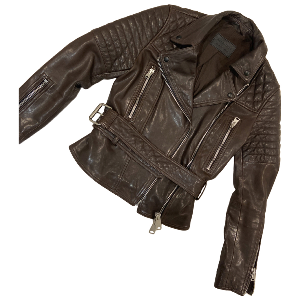 All Saints N Brown Leather Leather jacket for Women 10 UK