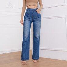 Gerade Jeans mit hoher Taille und schraegen Taschen