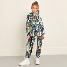 Kapuze mit Pop Art Muster & Jogginghose Set