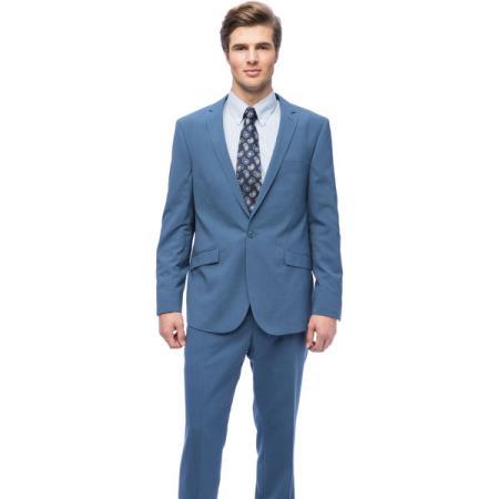 West End Mens Young Look Slim Fit Blue 1 button Suit