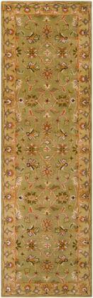 Crowne CRN-6001 26 x 8 Runner Traditional Rug in Camel  Khaki  Ivory  Dark