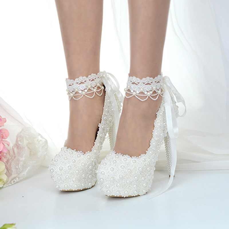 Ericdress Beads Platform Stiletto Heel Lace-Up Wedding Shoes