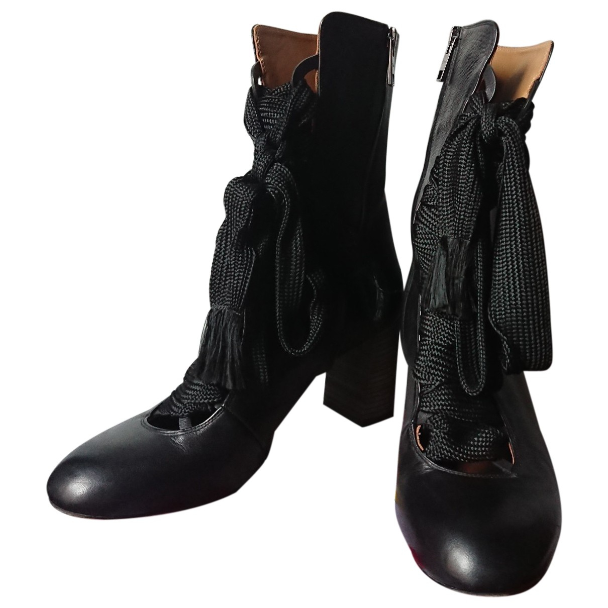 Chloé \N Black Leather Ankle boots for Women 40 EU