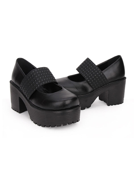Milanoo Classic Lolita Footwear Metallic Round Toe PU Platform Black Lolita Shoes