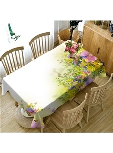3D Yellow and Beige Flowers Printed Thick Polyester Oil-Proof Table Cover