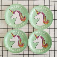 8pcs Unicorn Print Disposable Plate