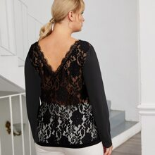 Plus Contrast Lace Back Boat Neck Tee