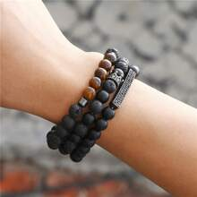 3pcs Men Crown Decor Beaded Bracelet