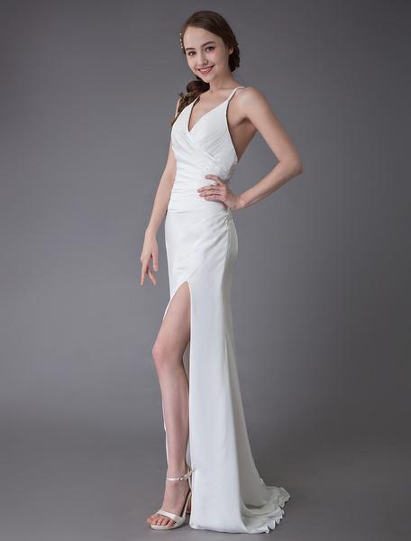 Milanoo Beach Wedding Dresses Sexy Bridal Dress High Split Ivory Sheath Straps Summer Wedding Gowns