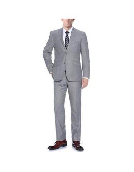 Mens Light Grey Polyester/Viscose Classic Fit Two Piece Suit