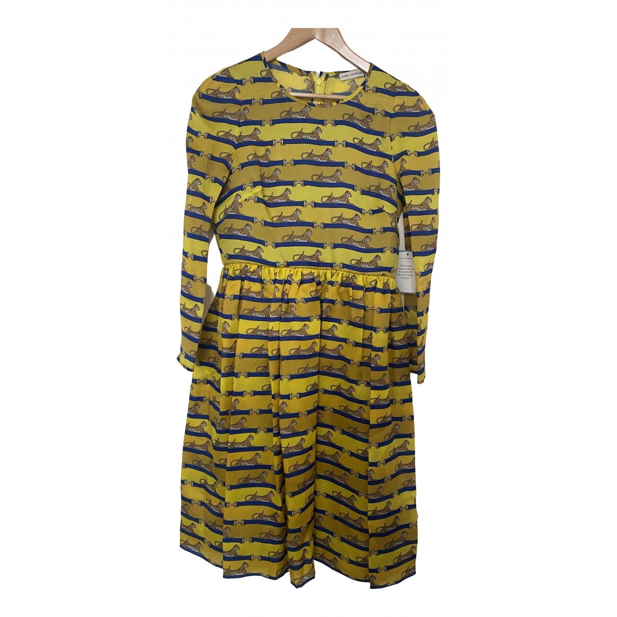 Mary Katrantzou - Robe   pour femme en soie - jaune
