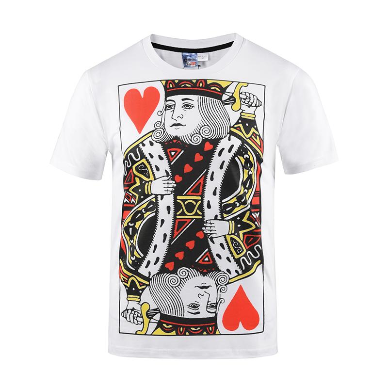 White Poker K Printing Polyester Round Neck Men's 3D T-Shirts