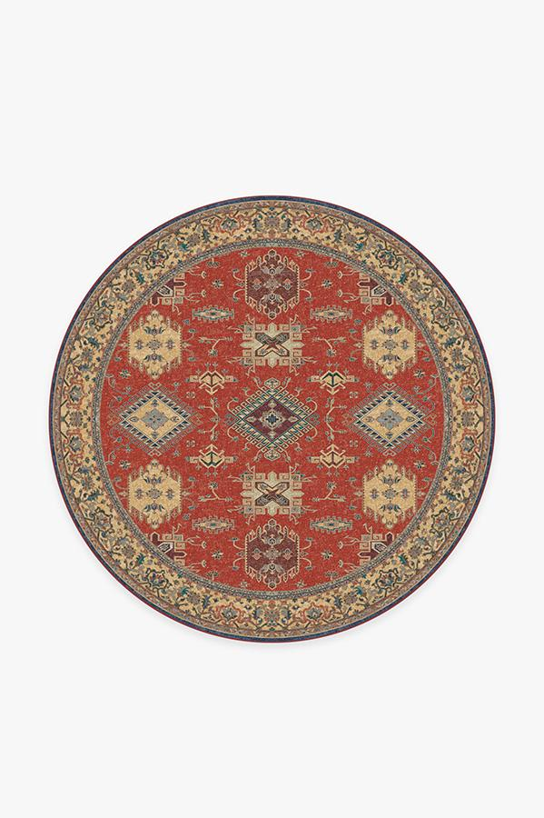 Washable Rug Cover & Pad | Ademi Paprika Red Rug | Stain-Resistant | Ruggable | 6' Round