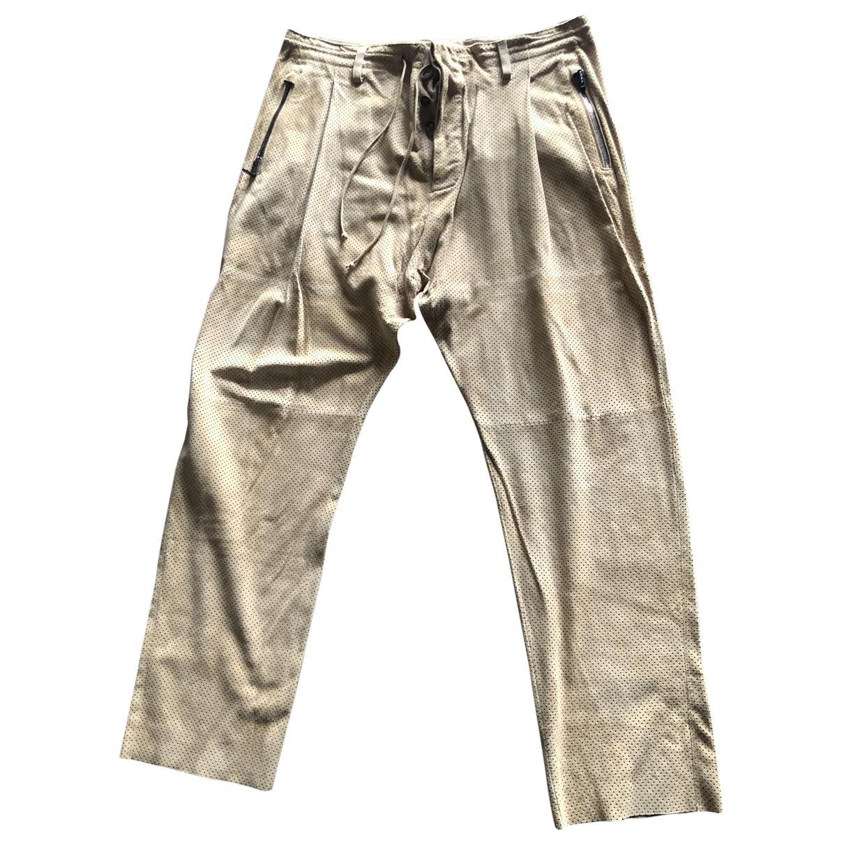 Roberto Cavalli \N Beige Leather Trousers for Men L International