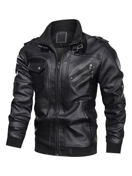 Milanoo Men\'s Leather Jackets Zippered Ribbed Biker Jakcet