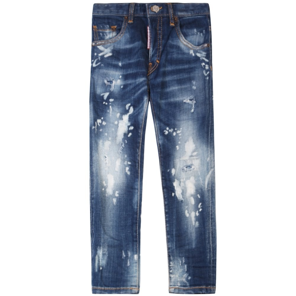 Dsquared2 Kids Distressed Skater Jeans Blue Colour: LIGHT BLUE, Size: 8 YEARS