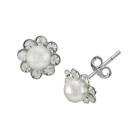 itsy bitsy Simulated Pearl and Crystal Sterling Silver Flower Stud Earrings, One Size , No Color Family