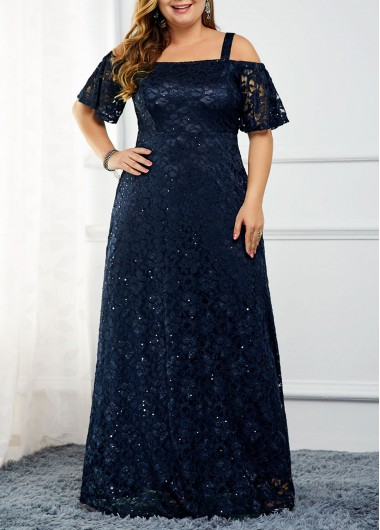 Women'S Navy Blue Lace Sequin Strappy Cold Shoulder Cocktail Party Dress Plus Size Short Sleeve Zipper Back Maxi Evening Dres By Rosewe - 2X