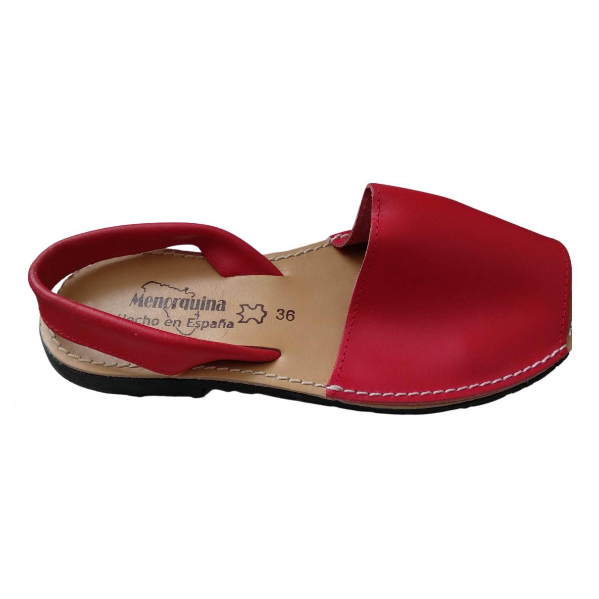 Minorquines - Espadrilles   pour femme en cuir - rouge