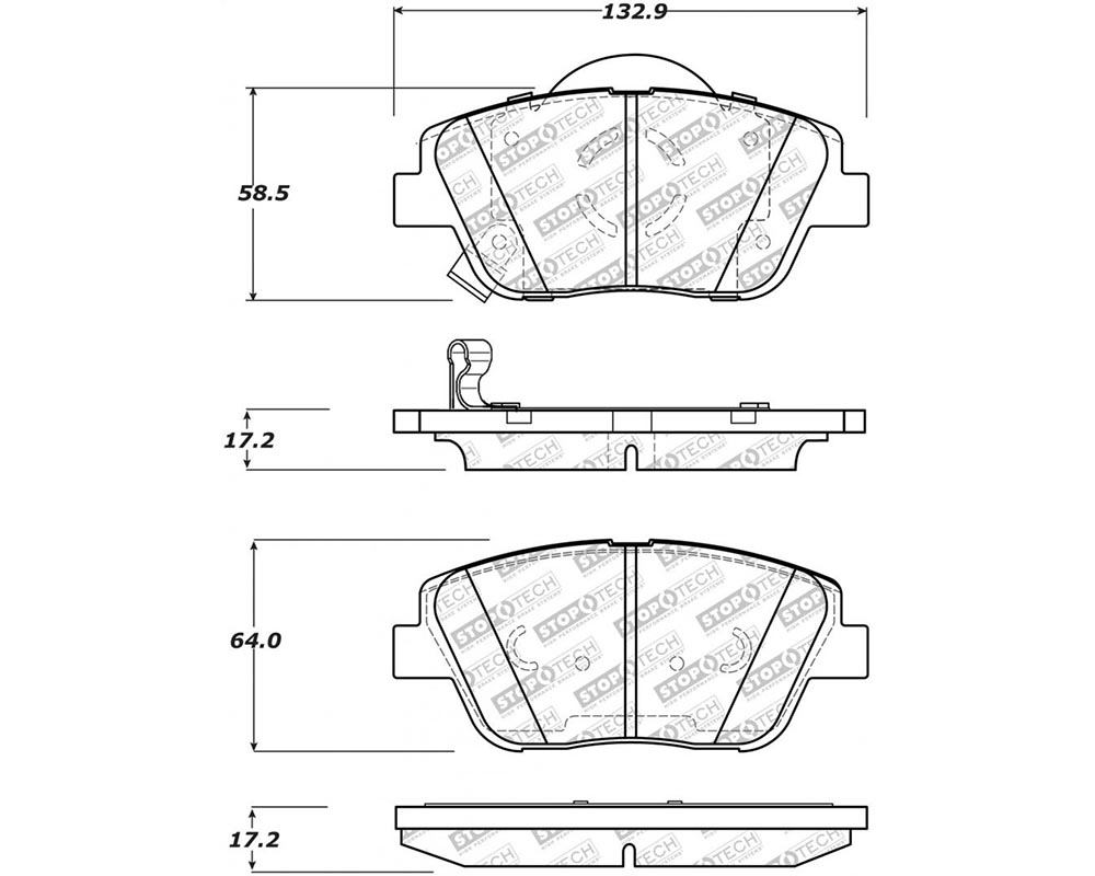 StopTech 305.1444 Street Select Brake Pads with Hardware Front