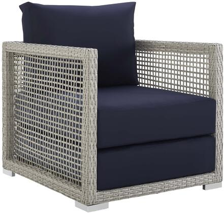 Aura Collection EEI-2918-GRY-NAV Outdoor Patio Armchair with Grey Synthetic Wicker Rattan  Powder Coated Aluminum Frame  Washable Cushion Covers