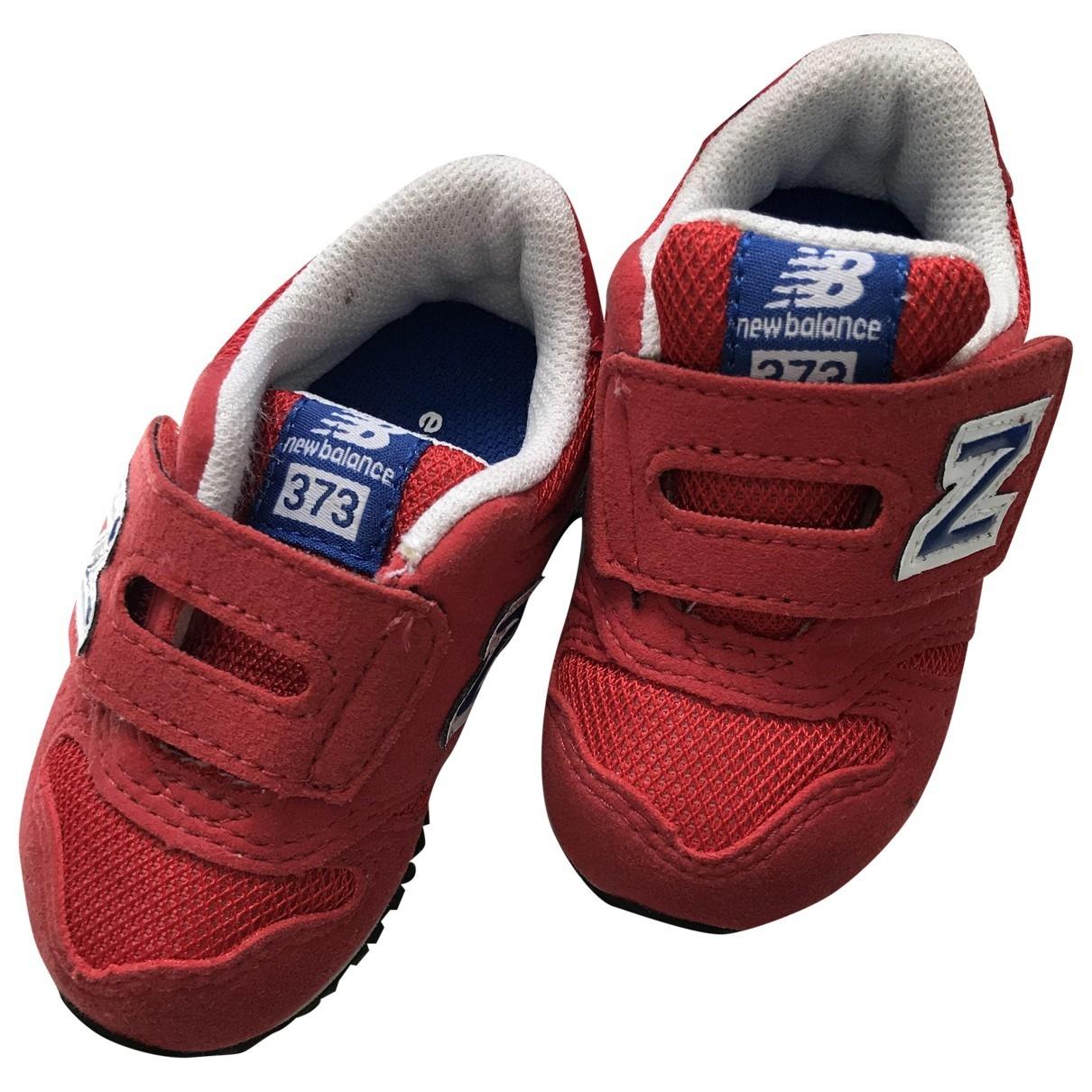 New Balance - Baskets   pour enfant en velours - rouge