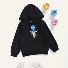 Toddler Boys Spaceman And Letter Graphic Kangaroo Pocket Hoodie