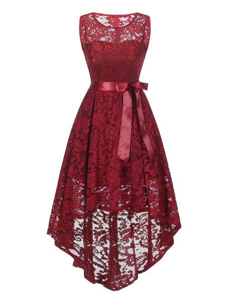Milanoo Lace Vintage Dress Bow Sash Sleeveless High Low Prom Dress For Women Pleated Swing Dress