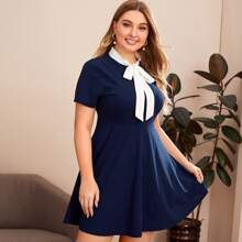Plus Tie Neck Fit and Flare Dress