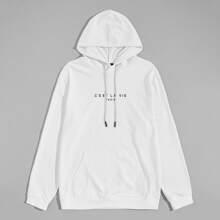 Hoodie mit Buchstaben Grafik und Kaenguru Tasche