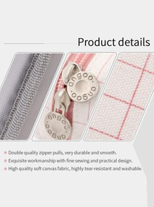 1pc Plaid Multi-grid Pencil Case