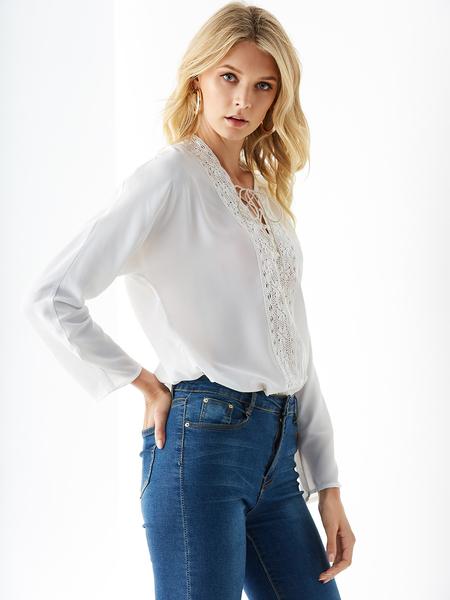 YOINS White Crochet Lace V-neck Lace-up Design Blouse