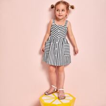 Toddler Girls Striped Dual Pockets Button Front Cami Dress