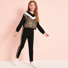 Girls Leopard Print Chevron Pullover and Leggings Set